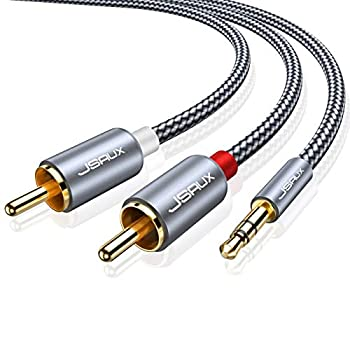 JSAUX RCA Cable [6.6ft/2M Dual Shielded Gold-Plated] 3.5mm Male to 2RCA Male Stereo Audio Adapter Coaxial Cable Nylon Braided AUX RCA Y Cord for Smartphones MP3 Tablets Speakers HDTV [Grey]