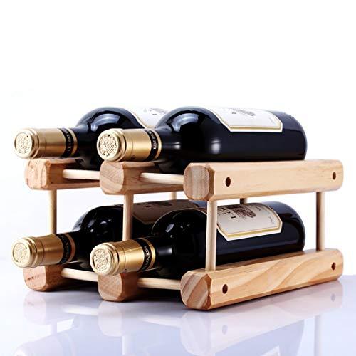 LY88 Massivholz Weinregal Dekoration DIY Kreative Weinregal kann montiert Werden Display Stand 4 Flaschen Weinregale Weinglasregal