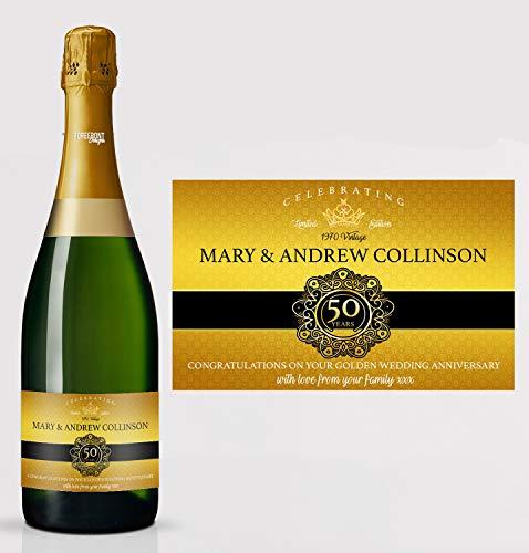 Gepersonaliseerde 50e gouden verjaardag champagne fles etiket, elke formulering