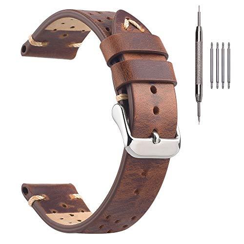 Cinghie per orologio da corsa Rally 18mm, cinturini per orologi vintage in cuoio perforato EACHE Retro marrone oro