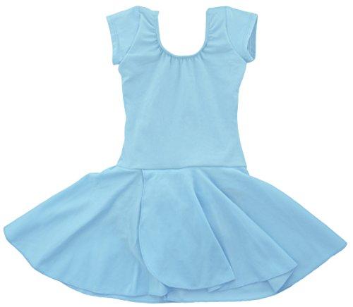 Dancina - Leotardo con Falda para Ballet en Algodón y Lycra para Niña 4-5 años Azul Claro