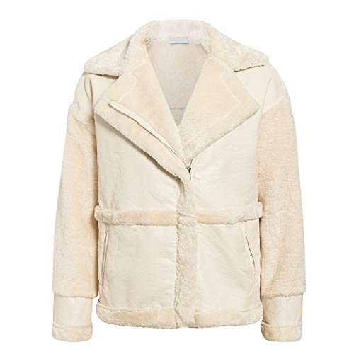 SHOUBANG Mantel Kunstpelz Patchwork Weichen Ledermantel Damen Kurzen Warmen Mantel Mantel Frauen Flauschigen Teddy Wintermantel Mantel