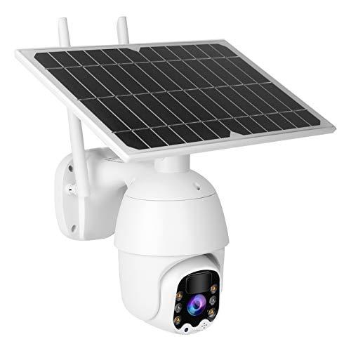 Cámara PTZ a Todo Color 1080P HD IR Visión Nocturna Grabación Continua con energía Solar para Varios entornos al Aire Libre para el Sistema de protección(European Frequency Band)
