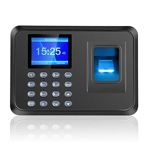 Máquina Asistencia Biométrico de Huellas Español,2.4' TFT LCD Pantalla Biométrico de Asistencia Máquina con Huella Dactilar y Contraseña,USB Conexión & Versión Español