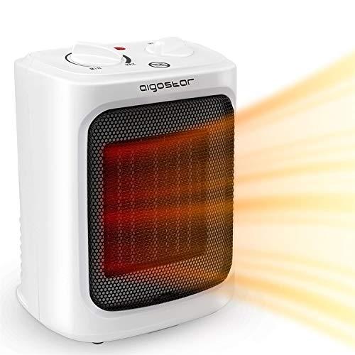 Aigostar Warmcube 33 LCG – Calefactor cerámico PTC, 2000W, portátil, tamaño mini, 2 velocidades, calor instantáneo, termostato ajustable. Diseño exclusivo.