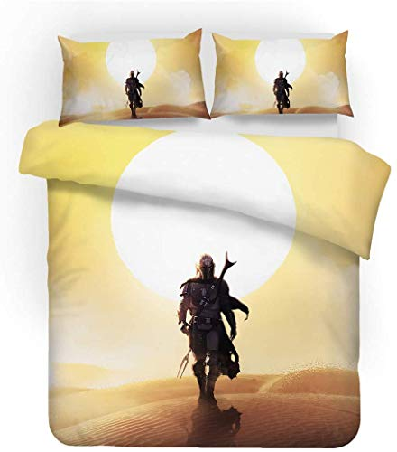 QWAS Juego de ropa de cama de la serie Star Wars de 100% microfibra, funda nórdica para niños, dibujos animados, juego de 3 piezas (A5, 200 x 200 cm + 50 x 75 cm x 2).