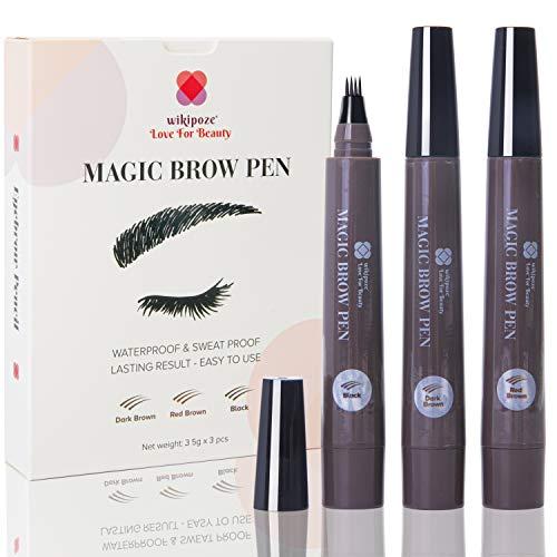 Matita per Sopracciglia | WIKIPOZE | Eyebrow Pencil, Penna Liquida per Sopracciglia Tatuate | Effetto Pelo e Look Naturale | 4 Punte, 3 Colori, Impermeabile e Durevole