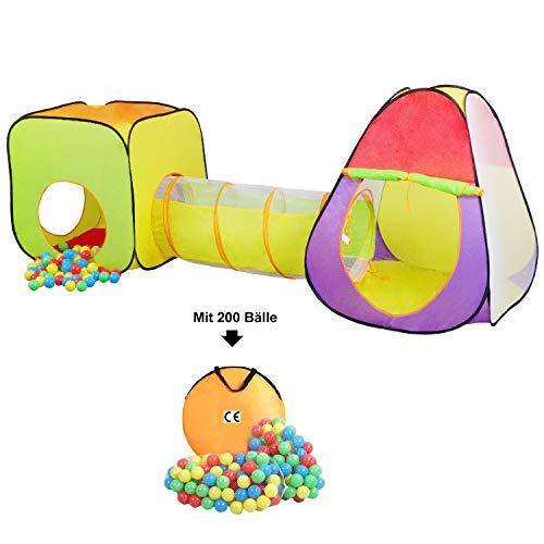 HB club Pop Up 3-Teiliges Kinderspielzelt mit 200 Bälle Tragetasche Kinder Spielzelt mit Tunnel Bällebad für Junge Mädchen Drinnen und Draußen