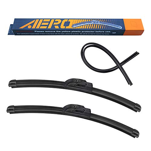 "AERO Voyager 24"" + 21"" Premium All-Season OEM Quality Windshield Wiper Blades with Extra Rubber Refill + 1 Year Warranty (Set of 2)"