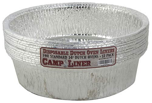 CampLiner Dutch Oven Liners, 12 Pack of 14' 8 Quart Disposable Liners - No More Cleaning or Seasoning. Fits Lodge, Camp Chef, and other Cast Iron Dutch Ovens