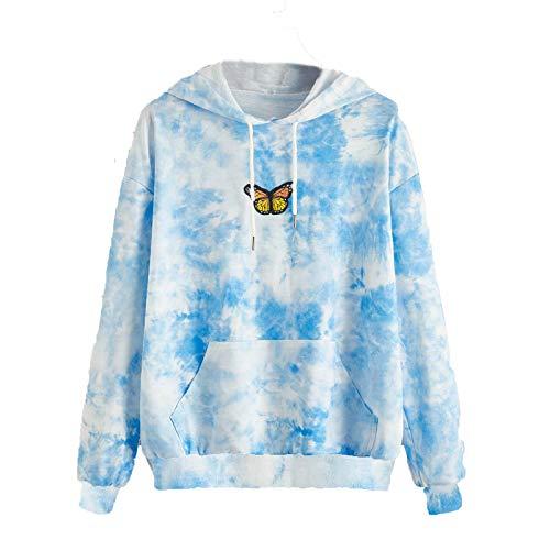 Zewuai Damen Schmetterling Druck Kapuzenpullover Langarm Pullover Pulli Hoodie Sweatshirt mit Kapuze Tasche Sweater Jacke, Mantel Kapuzenpullover mit Tasche (Blau, 36)