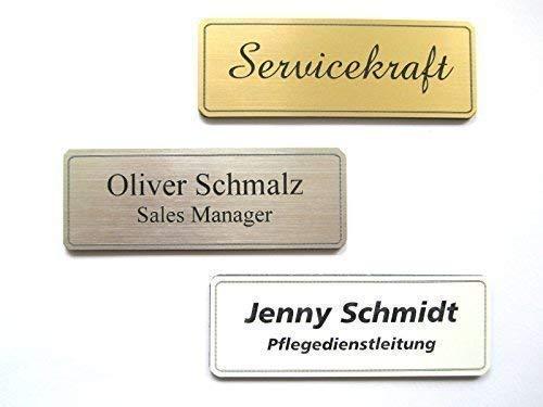 Schmalz Werbeservice Nombre de Plástico Incl. Grabado con Imán Color Plateado, Dorado o Blanco Grabado Placas Identificativas - Plata