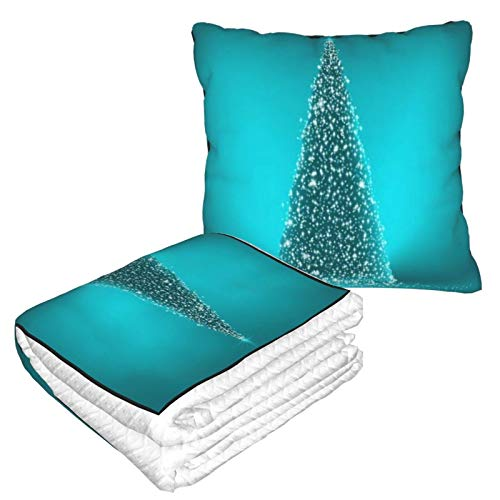 KIMDFACE Manta de Viaje súper Suave,Resumen Verde Navidad Reflejo Azul Blanco Curva en Abeto año Estrella Navidad Negro Resplandor Vacaciones,Manta Plegable,Almohada cómoda