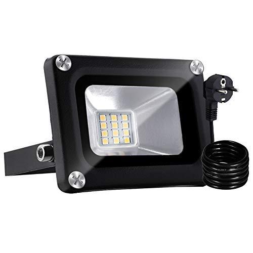 Bellanny 10W LED Fluter Außen, 800LM LED Strahler, 3000K Warmweiß Superhell LED Floodlight, IP65 Wasserdicht Scheinwerfer, für Garten, Garage, Sportplatz, Hotel ect