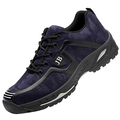 Vovotrade Veiligheidsschoenen voor dames, sportieve trekking, halfhoge wandelschoenen, stalen kap, werkschoenen, ademend, luchtkussen, hiking schoenen, camouflage, trailloopschoenen