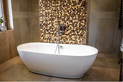 ECOLAM exklusive freistehende Badewanne Standbadewanne moderne Wanne freistehend Adele 180x82 cm + Ablaufgarnitur Design Acryl glamour weiß