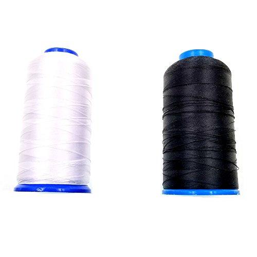 JZK 2 x Hilo de Coser de Nylon Para Máquinas de Coser Costura (1 Blanco + 1 Negro)