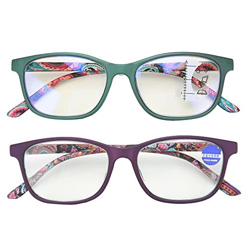 ViaGasaFamido Anteojos presbiópicos, Alivio de la Fatiga Visual Anteojos de Lectura multifocales Anteojos de Alta definición Rayos Azules Anteojos prebióticos Usados para Personas Mayores(02 + 150)