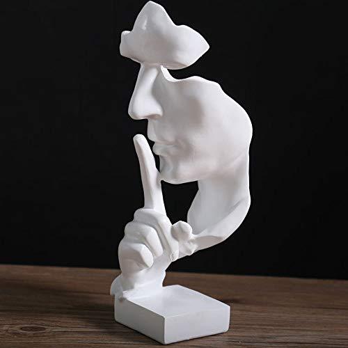 AILZNN Scultura Astratta Creativa Moderna, Retro Ornamento per Soggiorno in Ufficio, Pensatore Il Silenzio è Oro,White-28.5x11x10cm(11x4x4inch)