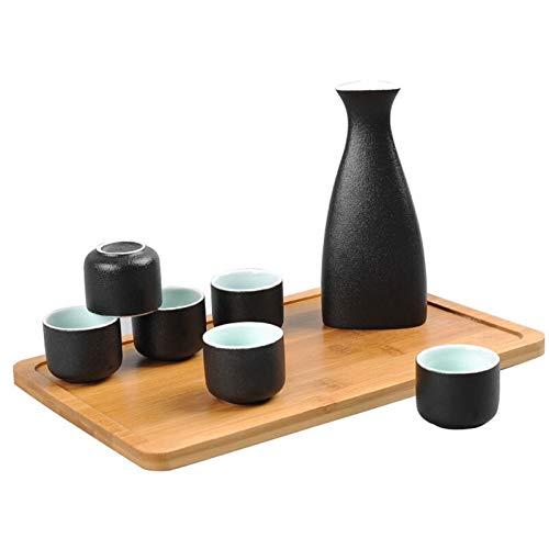 Conjunto de sake de color negro, sake de cerámica hecha a mano tradicional de 7 piezas con 1 botella de senderismo y 6 tazas de sake (Color : Black)