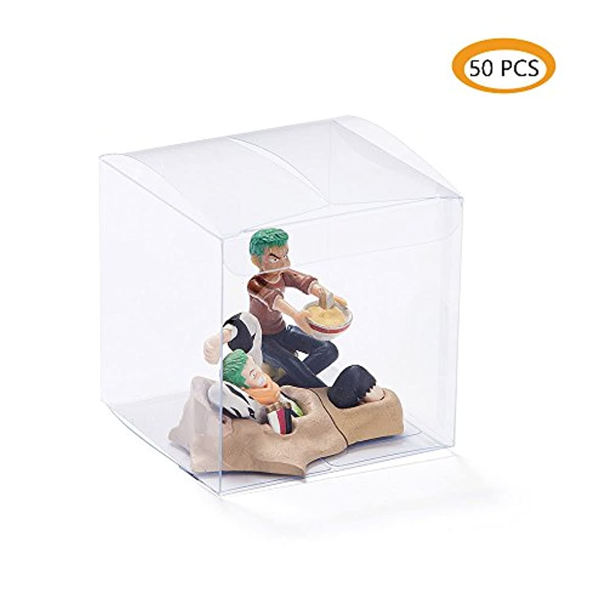 ZOOYOO Clear Plastic Box 3x3x3inch for Weddings/Party Favors/Packaging Treat Cupcake Transparent Packing Boxes 50PCS