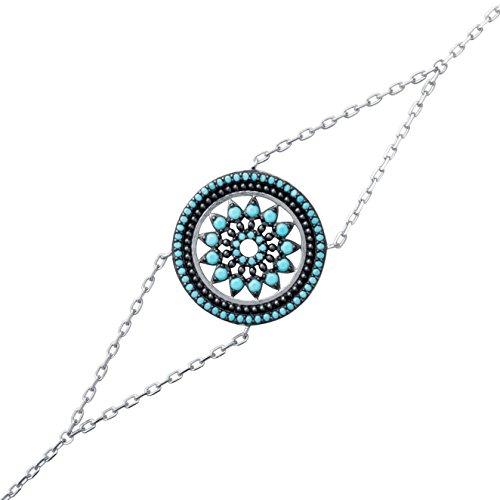 So Chic Joyas© pulsera mujer cadena 18cm círculo flor roseta calada piedras negro & azul turquesa plata 925