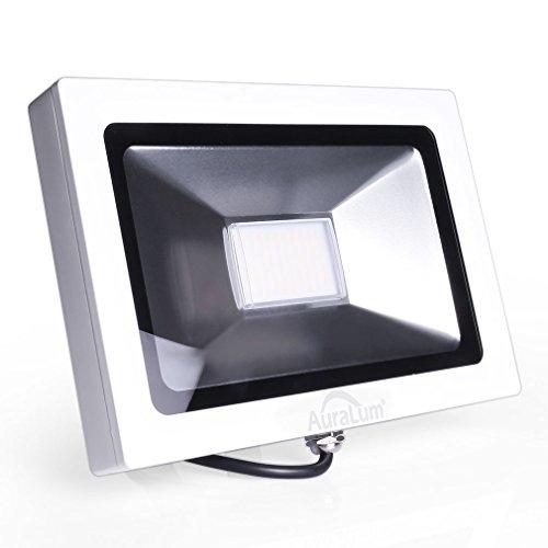 Auralum super slim 30W LED Flutlicht Fluter Strahler 220V Außenleuchte,2250LM, 4000K, Natural weiß,IP65 Wasserdicht, Aluminium,In- und Outdoor Außenstrahler Aussenstrahler außenbeleuchtung in Weiß