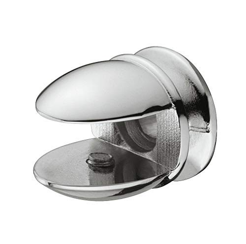 Gedotec Glasbodenträger montieren Regalbodenträger einbauen Regalträger Zubehör - MEA | für Tablardicke 5-8 mm | Zinkdruckguss verchromt poliert | 1 Stück