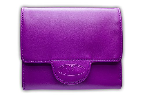 Big Skinny Women's Trixie Leather Tri-Fold Slim Wallet, Holds Up to 30 Cards, Plum Purple