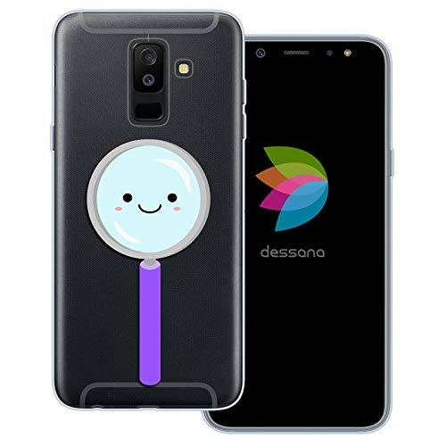 dessana Leuke wetenschap transparante beschermhoes mobiele telefoon case cover tas voor Samsung Galaxy A J, Samsung Galaxy A6+ (2018), Schattig vergrootglas.