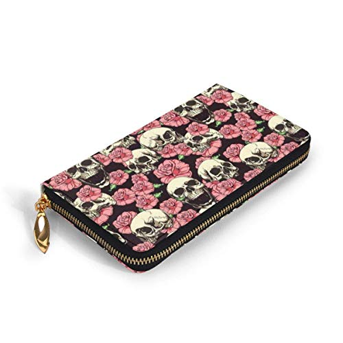 GYHJH Shouting Skull Rose Women's Leather Long Wallet Zip Around Clutch Lightweight Print Card Holder Large Capacity Travel Coin Purse