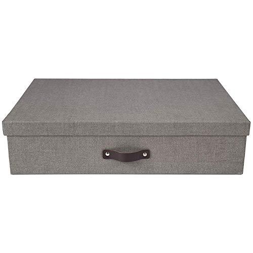 Bigso Box of Sweden Sortierkasten mit 12 Fächern – Aufbewahrungsbox mit Deckel und Griff für Accessoires, Bürobedarf, Kosmetik usw. – Fächerbox aus Faserplatte und Papier in Leinenoptik – grau