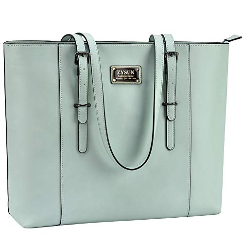 ZYSUN Laptop Tote Bag Fits Up to 15.6 IN Awesome Gifts for Women (Mint Green)