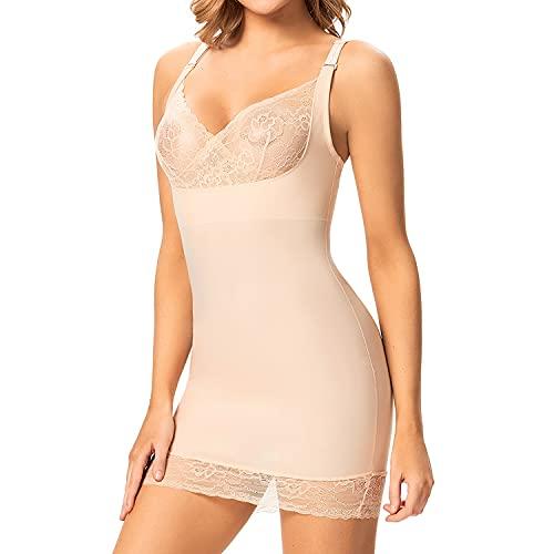 Shapewear Slips for Under Dresses Women Tummy Control Full Slip Body Shaper Seamless Strapless Slip Dress (Beige, S)