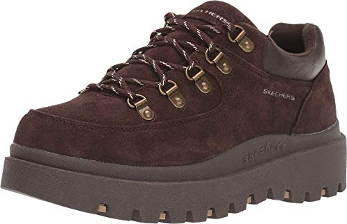 Skechers Women's SHINDIGS-Stompin' -Rugged Heritage Style 5-Eye Suede Shoe-Boot Oxford, Chocolate, 7 M US
