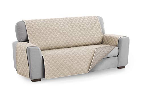 Textilhome - Funda Cubre Sofá Malu, 3 Plazas, Protector para Sofás Acolchado Reversible. Color Marfil