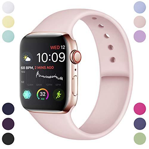 Preisvergleich Produktbild Hamile Armband Kompatibel für Apple Watch 42mm 44mm,  Weiche Silikon Wasserdicht Ersatz Uhrenarmbänder für Apple Watch Series 5,  Series 4,  Series 3,  Series 2,  Series 1,  S / M Rosa