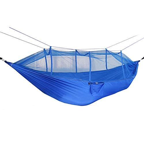 Extérieur Intérieur Chambre Double Moustiquaire Hamac Parachute Tissu Confortable Durable Randonnée Camping (Bleu Ciel + Bleu Royal) FRjasnyfall