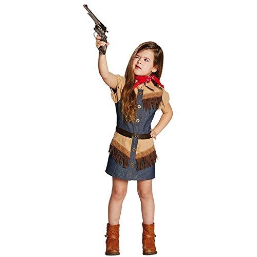 Kinderkostüm Cowgirl Gr. 116- 164 Mädchen Jeanskleid Fasching Western Kostüm (152)
