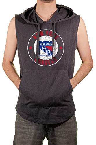 Calhoun Official NHL Men's Sleeveless Hoodie (NY Rangers, Large)