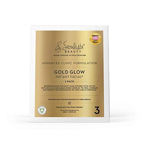 Seoulista Beauty Advanced Clinic Formulation Gold Glow Instantané Facial Pack 3 Masque Anti-âge avec Huile de Rose Bulgare/Vitamine C/Niacinamide, 1 Unité