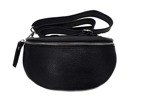 Italy borse in pelle Metallic echt Leder Damen crossover Body Bag Bauchtasche Gürteltasche Handtasche schwarz