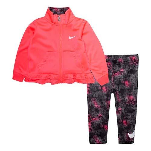 nike ナイキ 12ヵ月-4歳用サイズ 女の子用Swooshロゴx可愛い裾フリルジャージ上下2点セット(Pink/Black) 出産祝い セットアップ ジョガーパン (2t(85-90)) [並行輸入品]