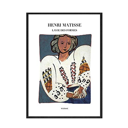 Póster abstracto impreso pintura Mural francés Matisse alfabeto inglés imagen nórdica sin marco pintura decorativa en lienzo C 70x100cm