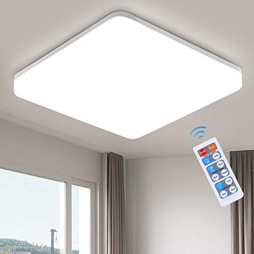 Oeegoo Lampada da soffitto con sensore di movimento, 15W, 1500 lm, LED lampada da soffitto con telecomando, IP44, senza sfarfallio, per soggiorno, cucina, balcone, cantina, corridoio, garage