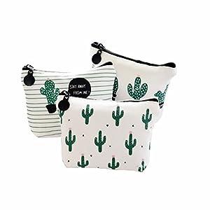 Wicemoon 3Pcs Wallet Coin Bag Cactus Printing Bag Travel Bag Zipper Bag Pouch Storage Bag for Sanitary Towels