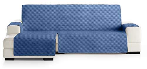 JM Textil Copridivano Salvadivano Chaise Longue Elena, Protezione Imbottita per divani Bracciolo Sinistro. Dimensione -240cm. Colore Blu 03 (Visto di Fronte)