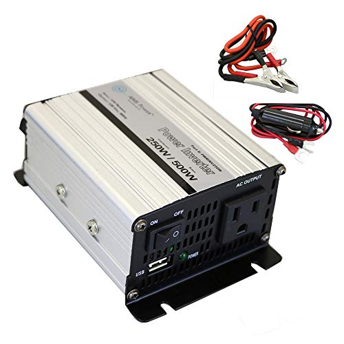 AIMS Power 250 Watt Modified Sine Power Inverter with Battery Cables, 500 Watt Surge Peak Power, AC Outlet and USB Outlet