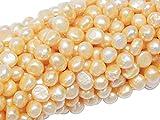 Perlas de agua dulce, perlas cultivadas de 5 mm, color albarroco, grano de arroz, natural, perlas barrocas, perlas de concha, para enhebrar, perlas de agua fresca.