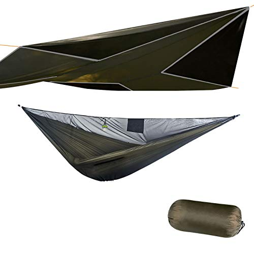 onewind 11ft Double Camping Hammock with Mosquito Nets, Rainfly Kits IncludeTree Straps, Ridgeline, Compact Stuff Bag, Ripstop Nylon, Ideal Tents for Camping, Hiking, Backpack